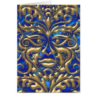 GreenMan in liquid gold damask on blue satin print Card