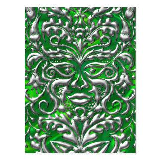 GreenMan in liquid silver damask green satin print Postcard