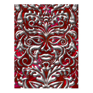 GreenMan in liquid silver damask  red satin print Postcard