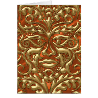 GreenMan liquid gold damask orange satin print Card