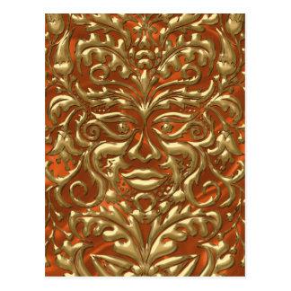 GreenMan liquid gold damask orange satin print Postcard