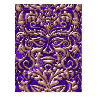 GreenMan liquid RoseGold damask purple satin print Postcard