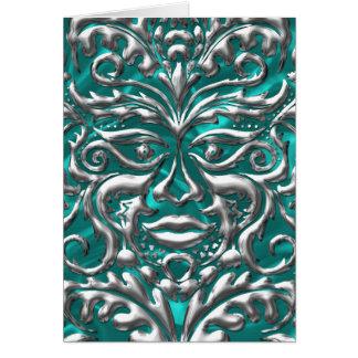 GreenMan liquid silver damask teal satin print Card