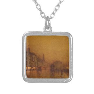 Greenock Dock by John Atkinson Grimshaw Silver Plated Necklace