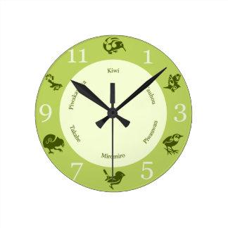 Greens  New Zealand birds wall clock
