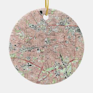 Greensboro North Carolina Map (1997) Ceramic Ornament