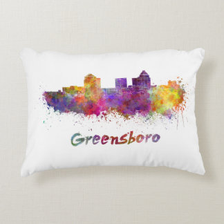 Greensboro skyline in watercolor accent pillow