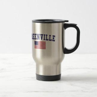 Greenville SC US Flag 15 Oz Stainless Steel Travel Mug