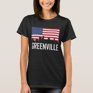 Greenville South Carolina Skyline American Flag T-Shirt