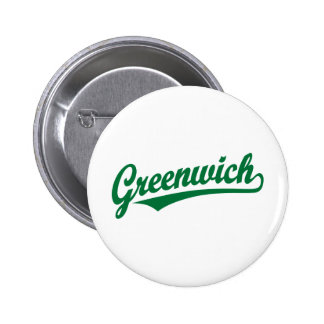 Greenwich script logo in green pinback buttons