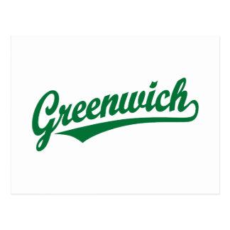Greenwich script logo in green postcard