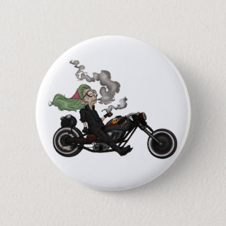 Greeny Granny on motorcycle 2 Inch Round Button