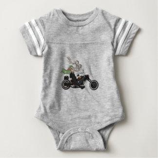 Greeny Granny on motorcycle Baby Bodysuit