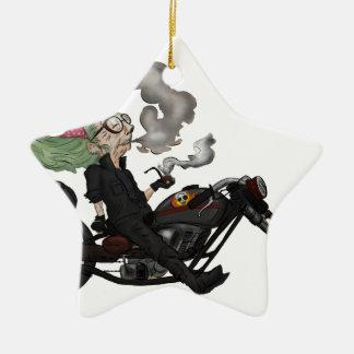 Greeny Granny on motorcycle Ceramic Ornament