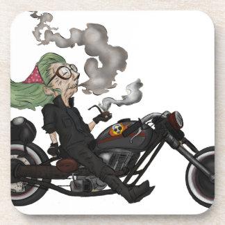 Greeny Granny on motorcycle Coaster