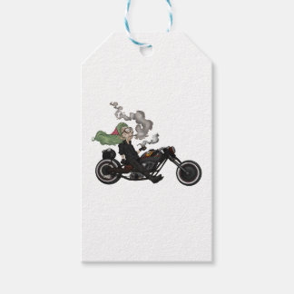 Greeny Granny on motorcycle Gift Tags