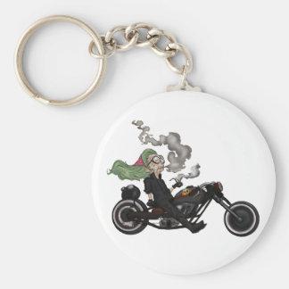 Greeny Granny on motorcycle Keychain