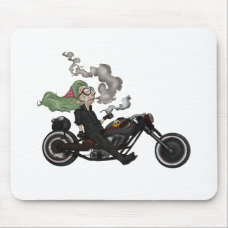 Greeny Granny on motorcycle Mouse Pad