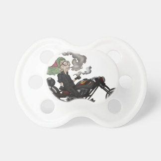 Greeny Granny on motorcycle Pacifier