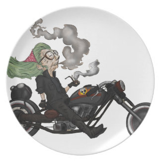 Greeny Granny on motorcycle Plate