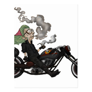 Greeny Granny on motorcycle Postcard