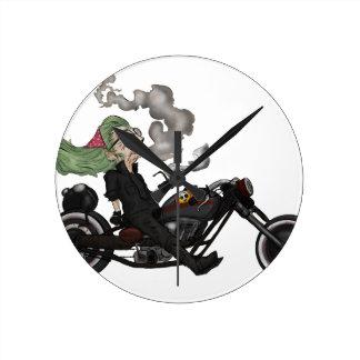 Greeny Granny on motorcycle Round Clock