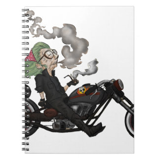 Greeny Granny on motorcycle Spiral Note Book