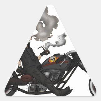 Greeny Granny on motorcycle Triangle Sticker