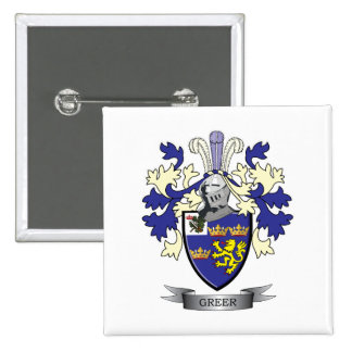 Greer Family Crest Coat of Arms 2 Inch Square Button