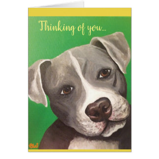 Greeting card 5x7 (pitbull) thinking of you