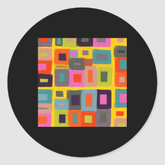 Greeting card Abstract Magic Squares painting Classic Round Sticker
