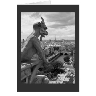 Greeting card, blank, with Gargoyle, black & white Card