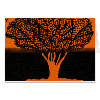 greeting card bold tree design in orange and black