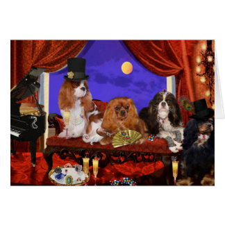greeting card, cavalier spaniels, by C. Cross Card