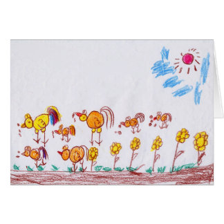 """GREETING CARD: """"Chickens"""" by Ma Theu (2nd grade) Greeting Card"""