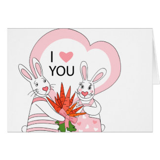 Greeting card  design with funny rabbit couple