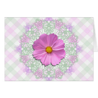 Greeting Card - Easter - Med. Pink Cosmos on Lace