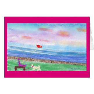 Greeting card flying a kite at Berkeley Marina