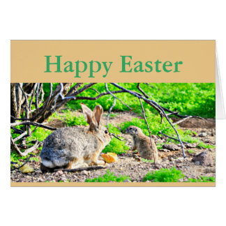 "Greeting Card ""Happy Easter"" Bunny/Ground Squirrel"