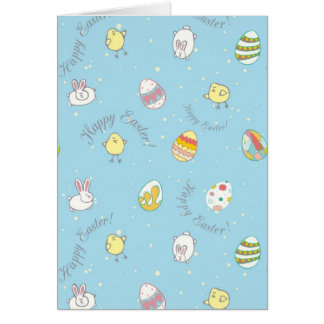 "Greeting card ""Happy Easter!"" with bunnies, eggs"