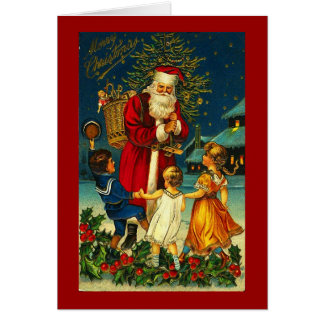 Greeting Card-Holiday Art-Vintage Christmas 7 Card