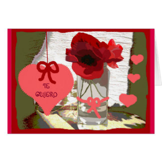 Greeting card I love poppies to you boat