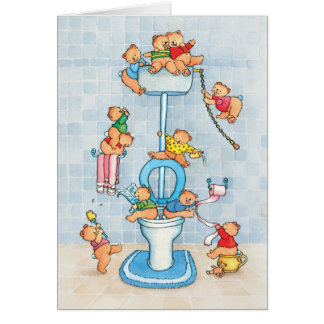 "Greeting card ""Little Bears on the Toilet"""