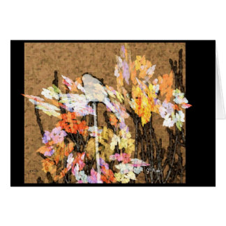 Greeting Card - Little Sparrow on Flower Perch