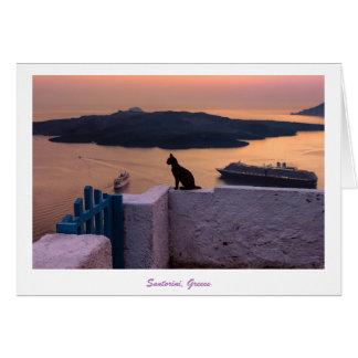 Greeting Card - Santorini Cat at Sunset