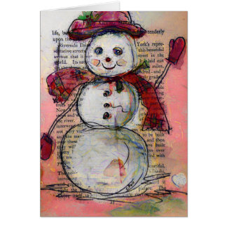 Greeting Card, Snowman with Red hat and scarf, Art Card