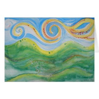 Greeting Card Swirly Sky Rolling Hills