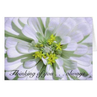 Greeting Card-Thinking of you-Lemony White Zinnia Card