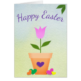Greeting Card Tulips Hearts Happy Easter Customize