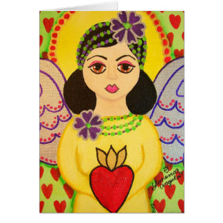 Greeting card with an angel folk art style